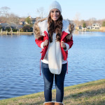 red faux fur jacket winter outfit on mrscasual