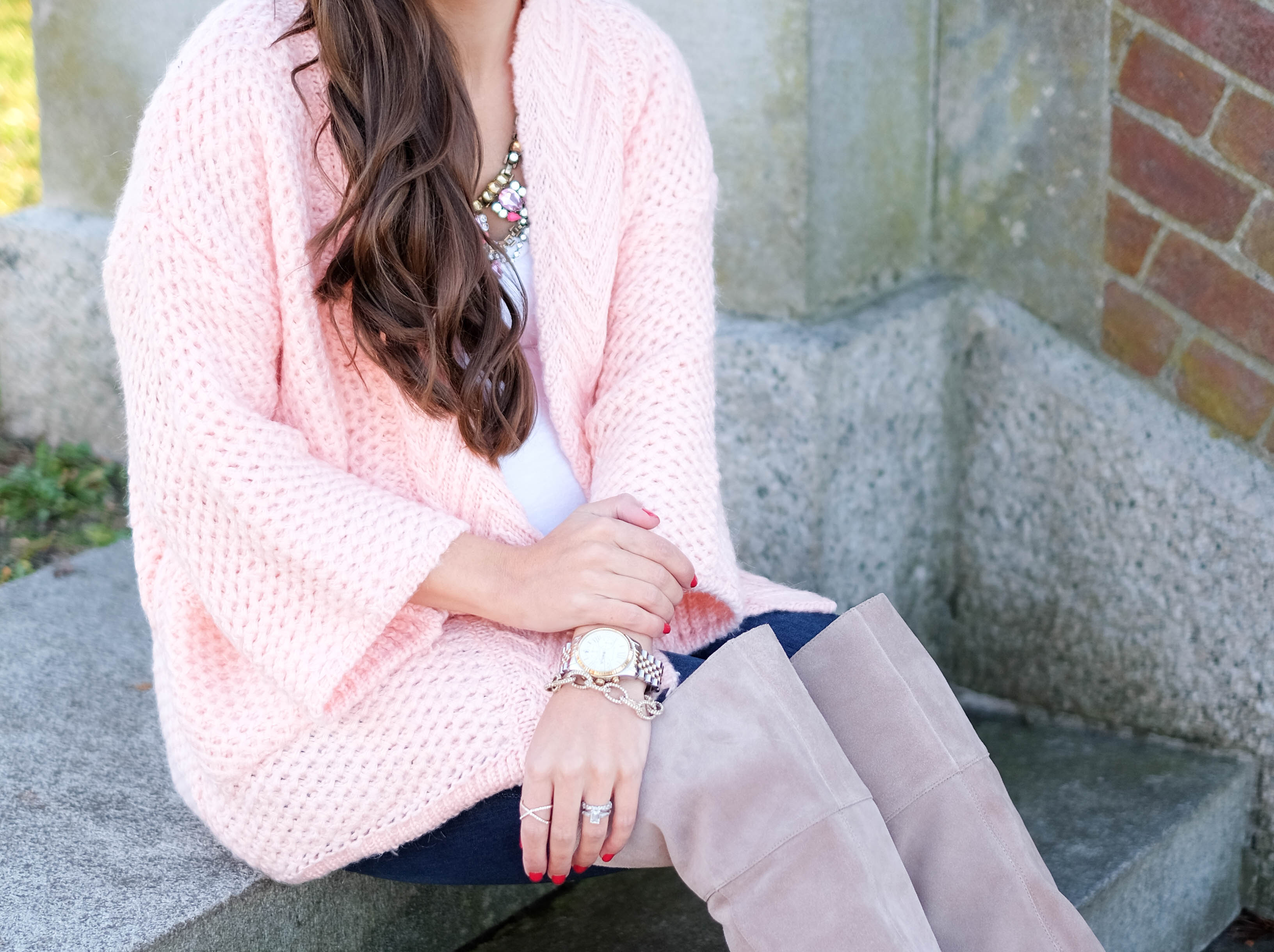 blush pink knit cardigan mrscasual fall outfits cute styles