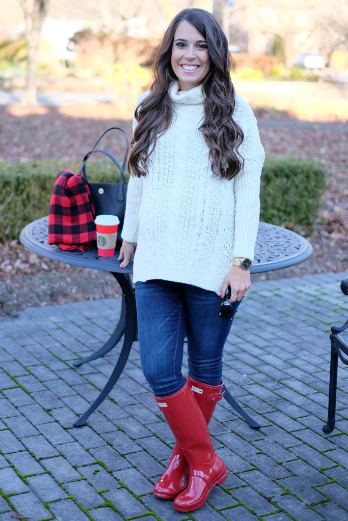 Red Hunter Boots and Buffalo Plaid Scarf | MrsCasual