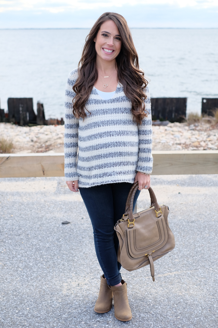 striped sweater fall winter outfit mrscasual