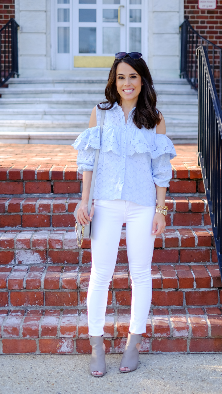 Blue eyelet ruffled cold shoulder summer outfit