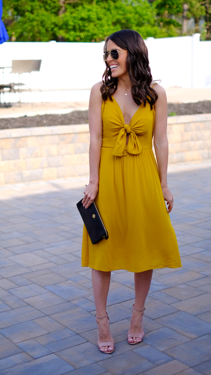 Leith yellow tie dress front mrscasual instagram