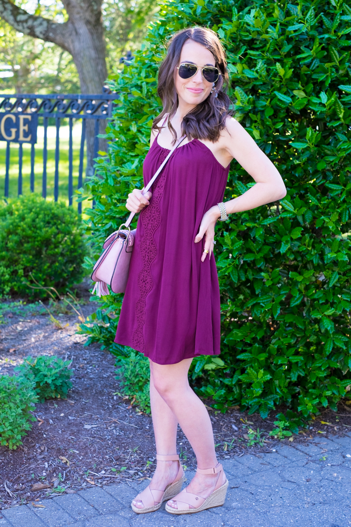Tassel Crossbody nude wedge summer outfit mrscasual
