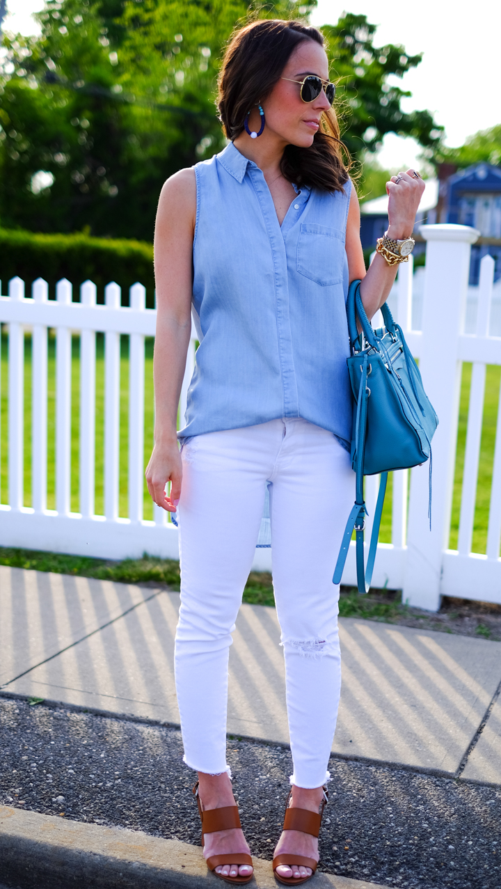 White jeans sleeveless chambray mrscasual summer outfits