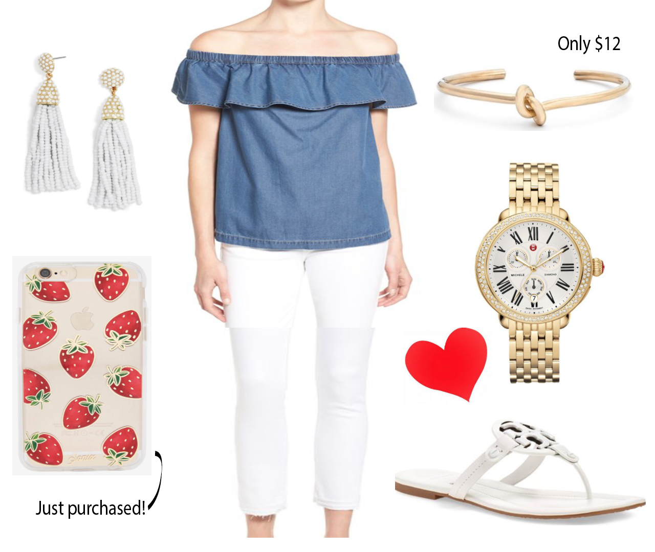 Chambray off the shoulder Chelsea28 summer outfit inspiration