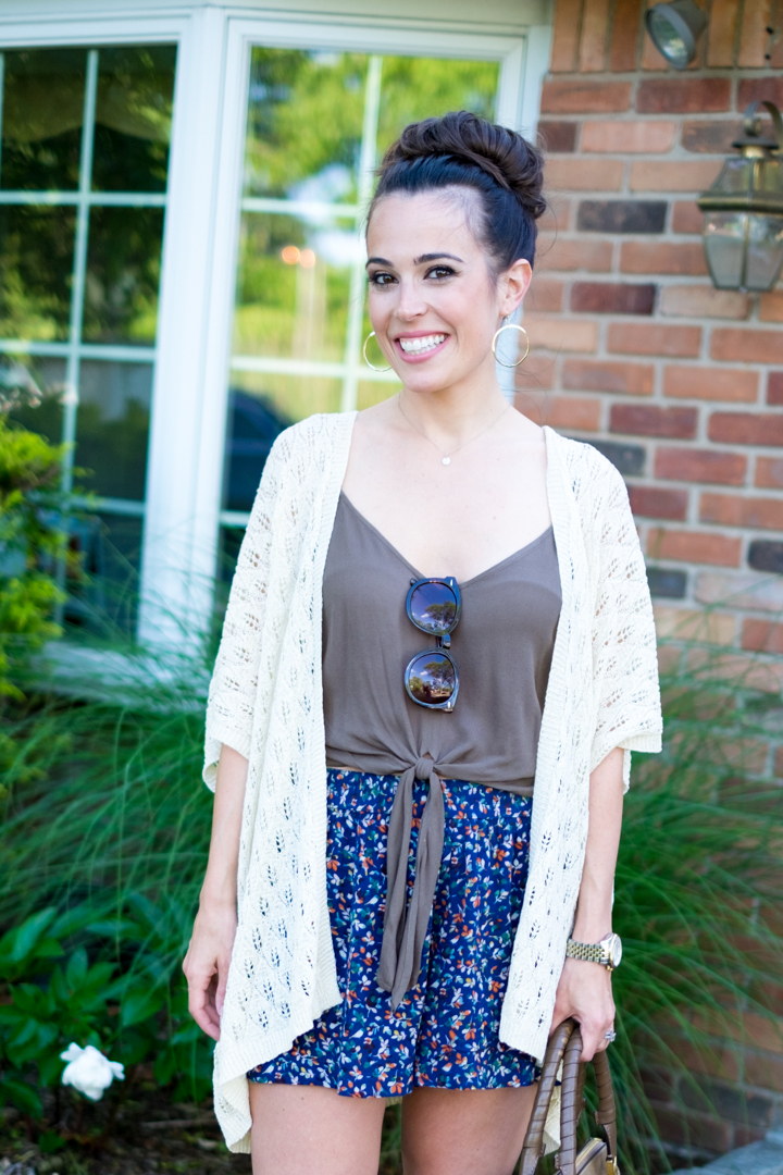 Easy Summer Outfit: Kimono + Shorts | MrsCasual Beautycounter