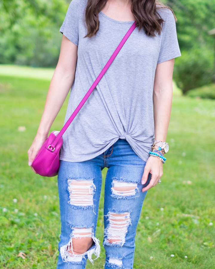 Gray knotted tee