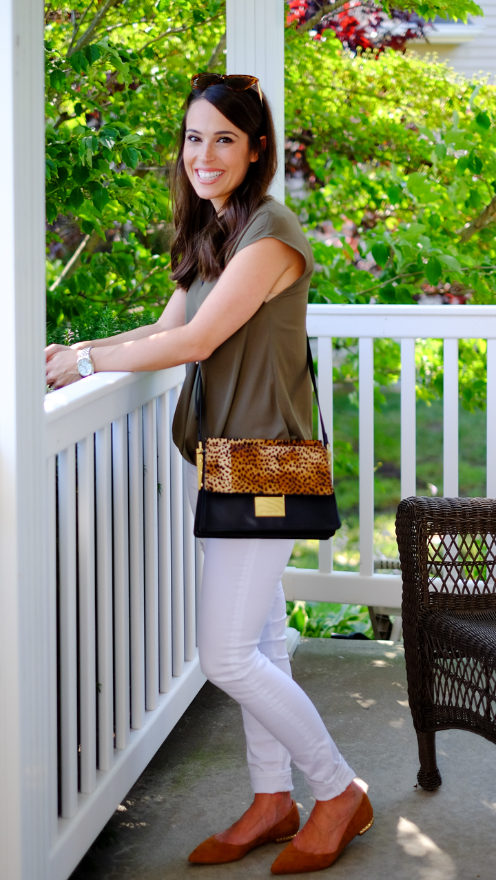 olive + leopard crossbody bag white jeans olive green wrap top mrscasual fashion blog