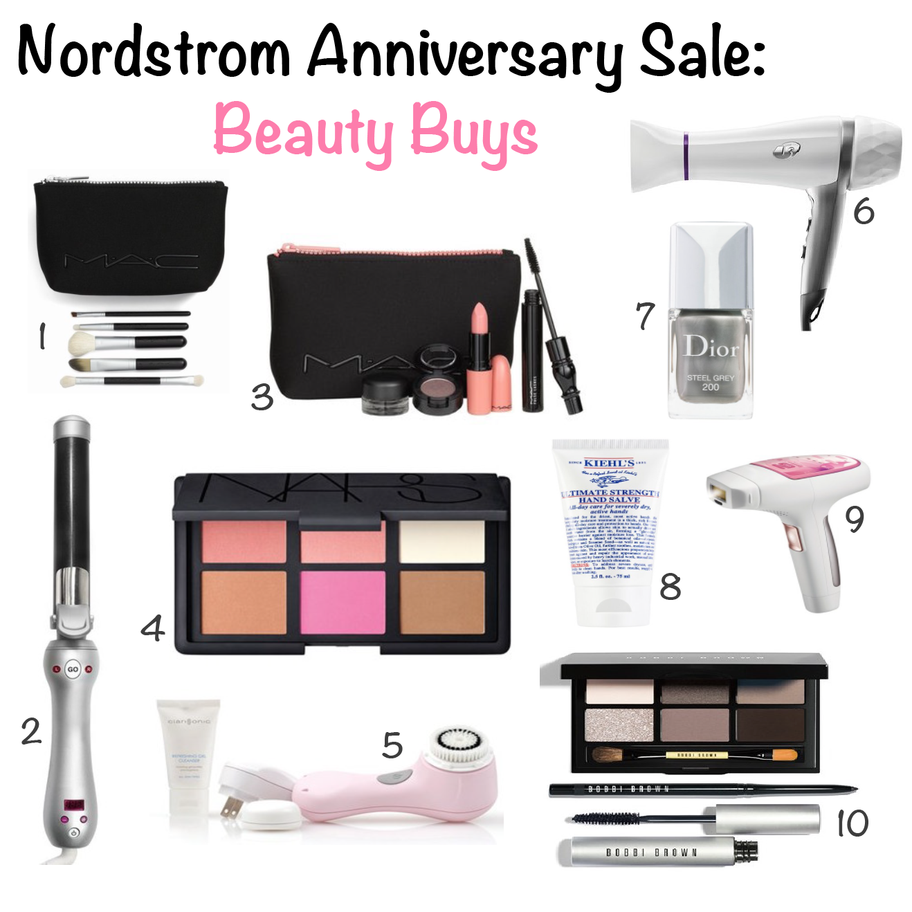 Nordstrom Anniversary Sale NSale Beauty Buys NARS cheek palette MAC brush set t3 featherweight dryer bobbi brown smokey eye friday favorites mrscasual fashion blog