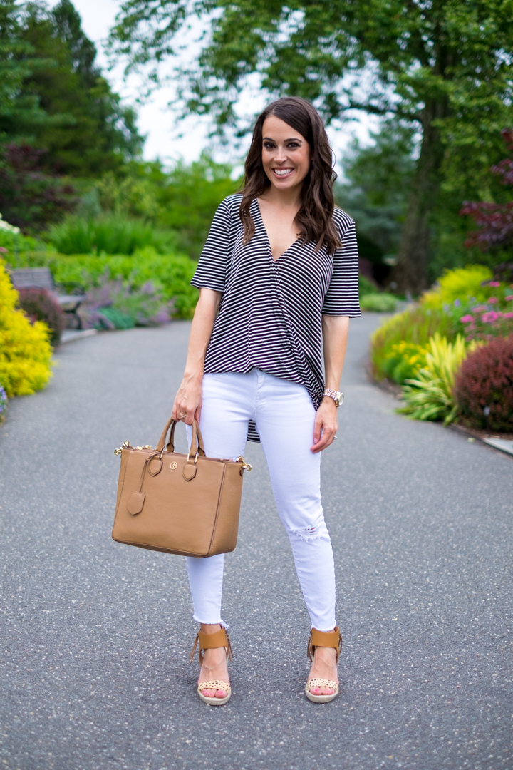 summer stripes outfit striped wrap top mrscasual summer outfit