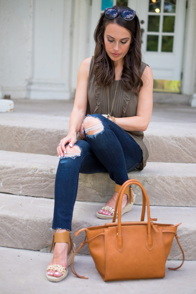 cognac tote outfit