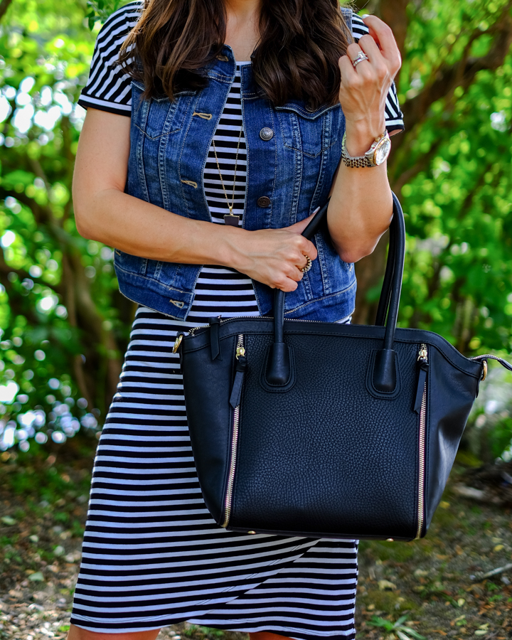 striped dress denim vest outfit