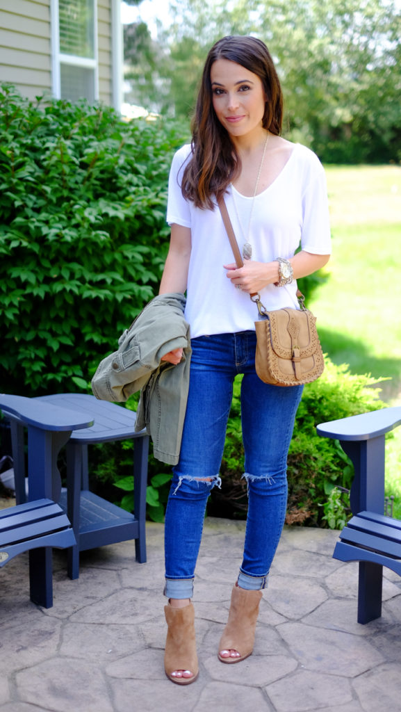 Ankle booties and skinny jeans outfit