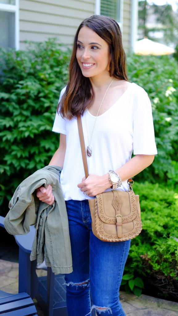Camel crossbody bag outfit