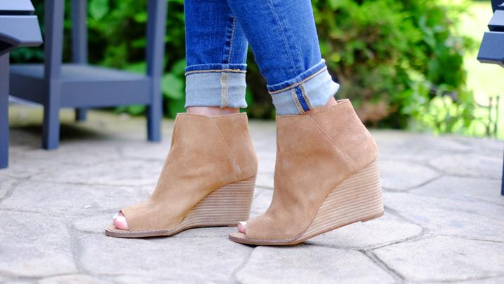 Lucky Brand peep toe booties