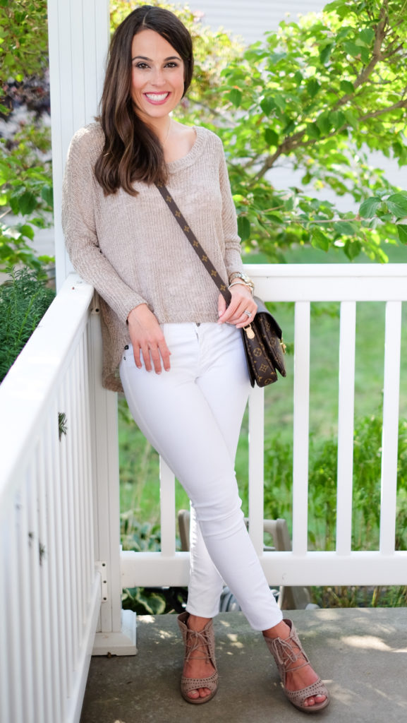 Oatmeal sweater white jeans