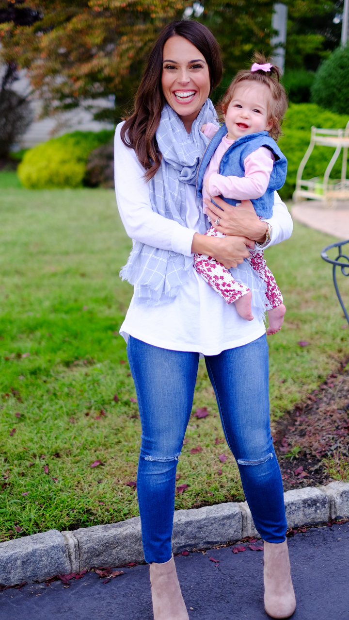 Mom And Daughter Bedroom Ideas: Casual Fall Outfit: Scarf + Booties