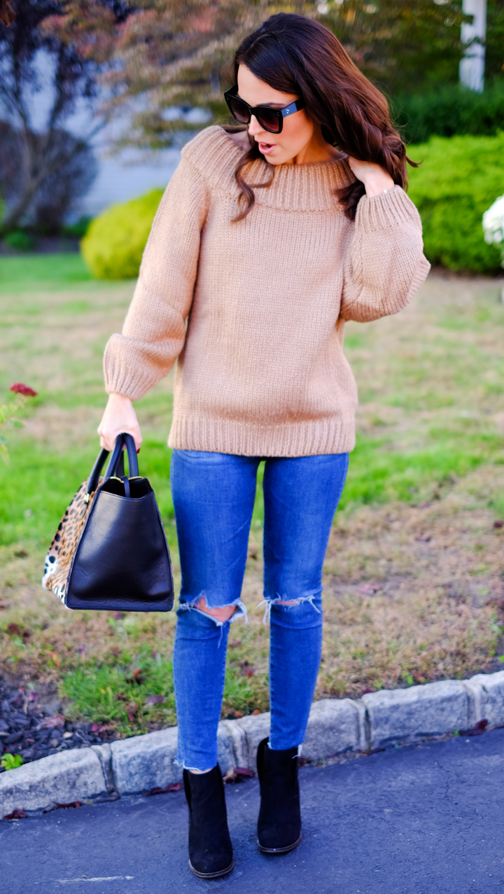 camel off shoulder sweater