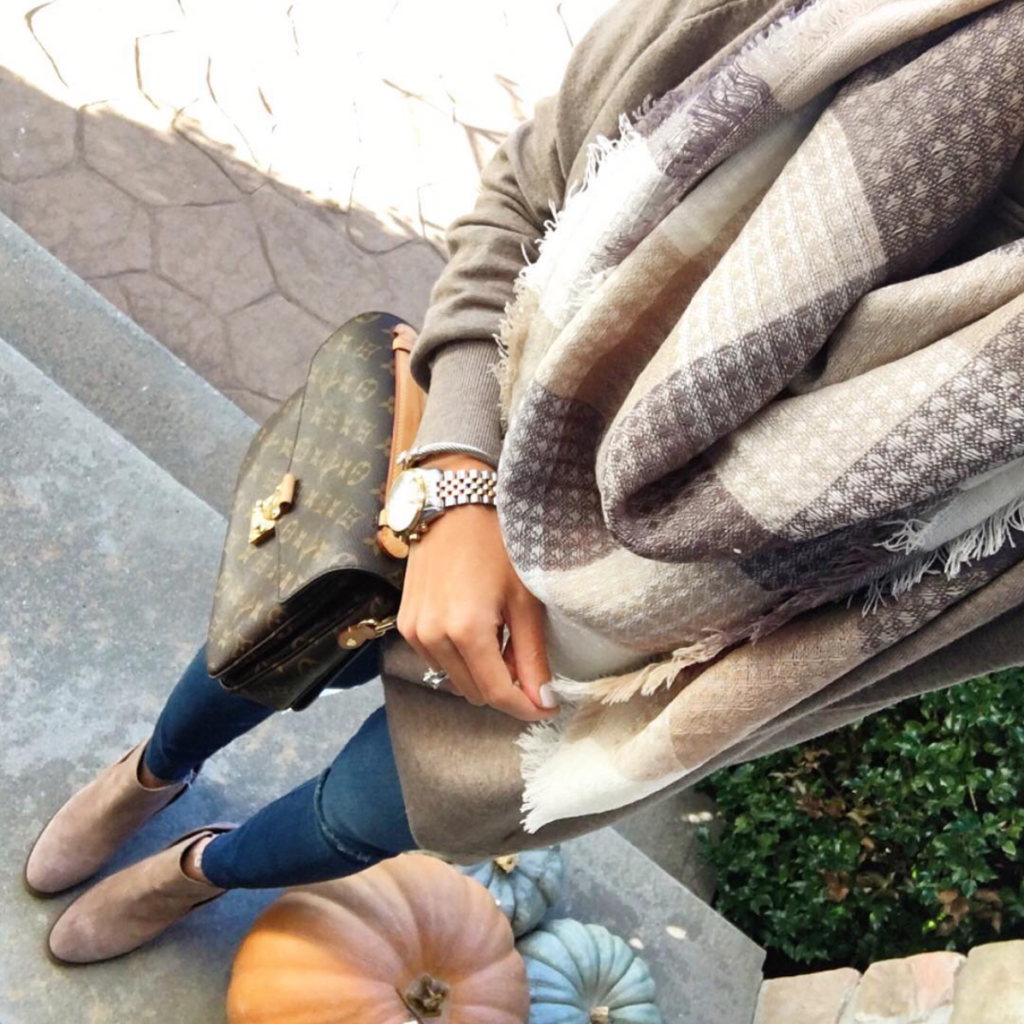 neutral plaid scarf