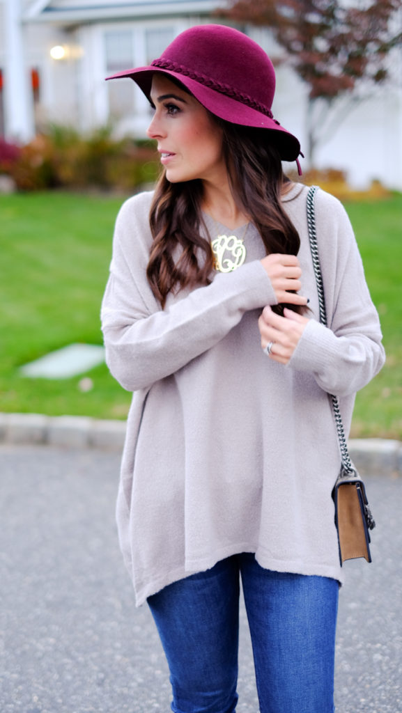 burgundy-floppy-hat-taupe-tunic-sweater-outfit