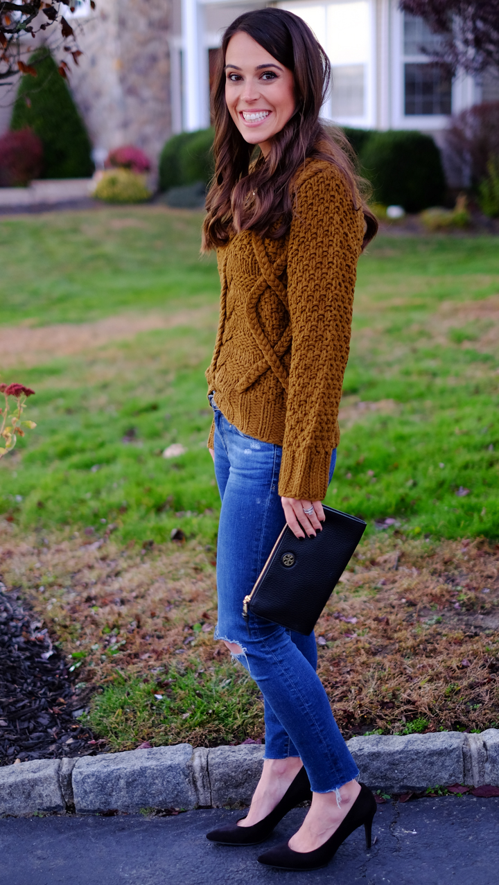 cable knit sweater thanksgiving outfit idea  mrscasual