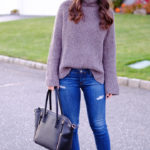 gray mock neck sweater