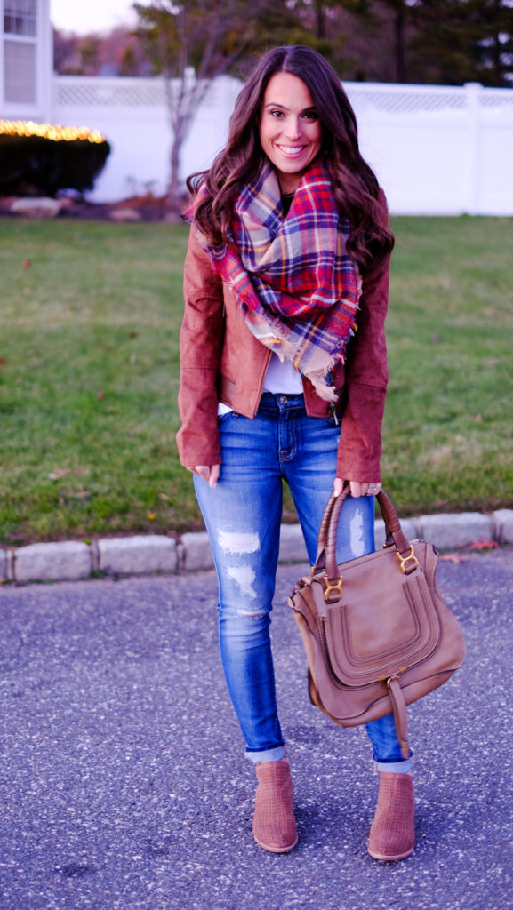 faux-suede-leather-jacket-and-plaid-scarf-outfit
