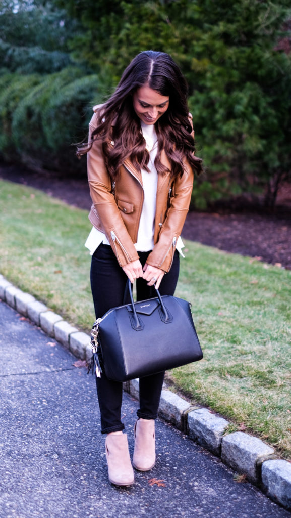 Cognac faux leather jacket outfit