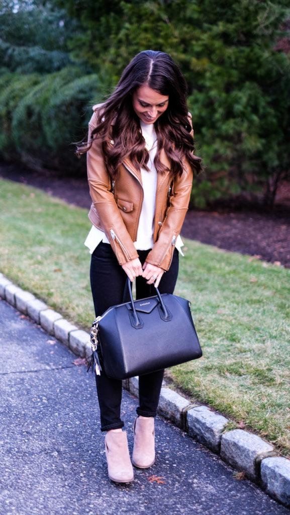 Cognac faux leather jacket outfit