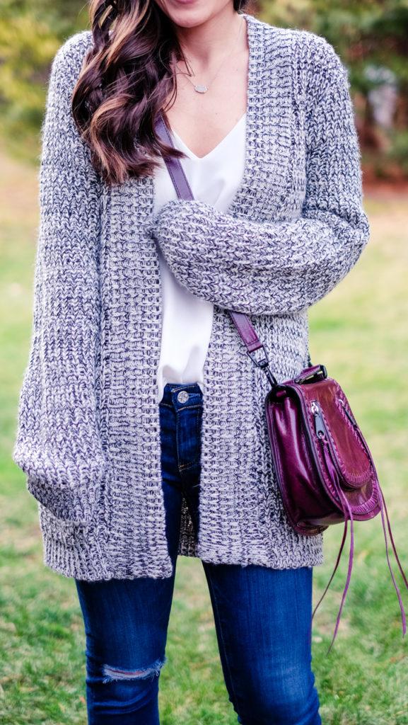 Cotton Emporium Marled Knit Open Cardigan