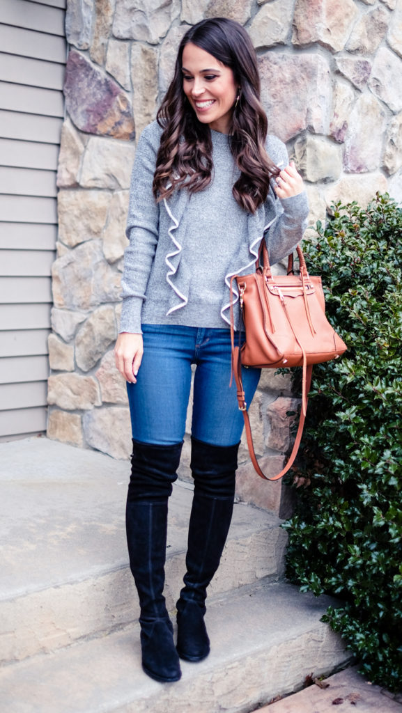 Gray ruffled sweater outfit