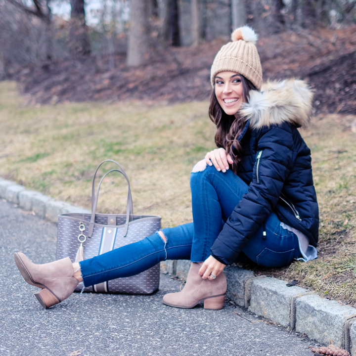 beanie and faux fur hood winter outfit