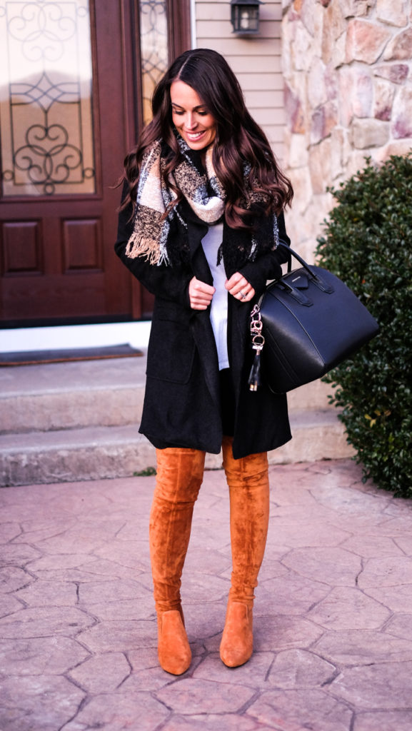 black and tan scarf outfit