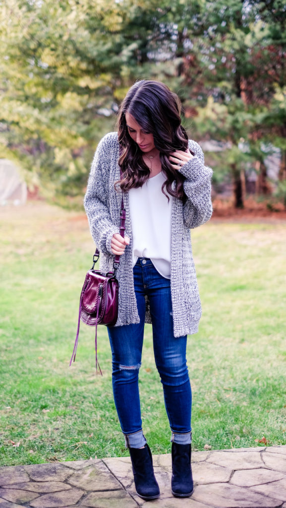 black and white cardigan outfit