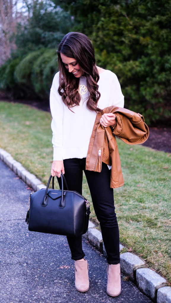 brown faux leather jacket outfit
