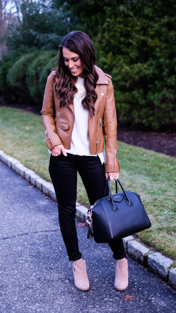 brown jacket white sweater outfit