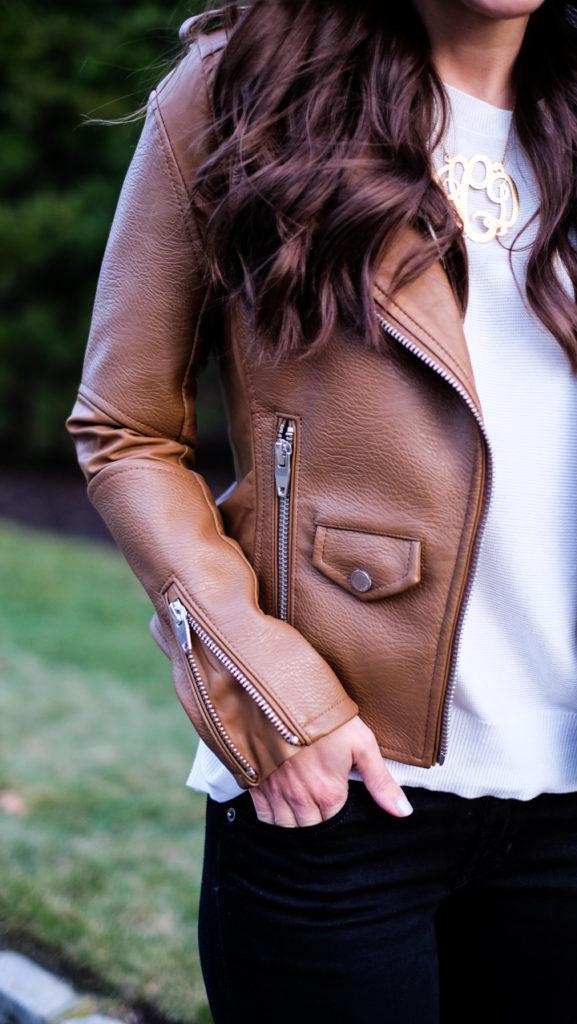 cognac faux leather jacket detail