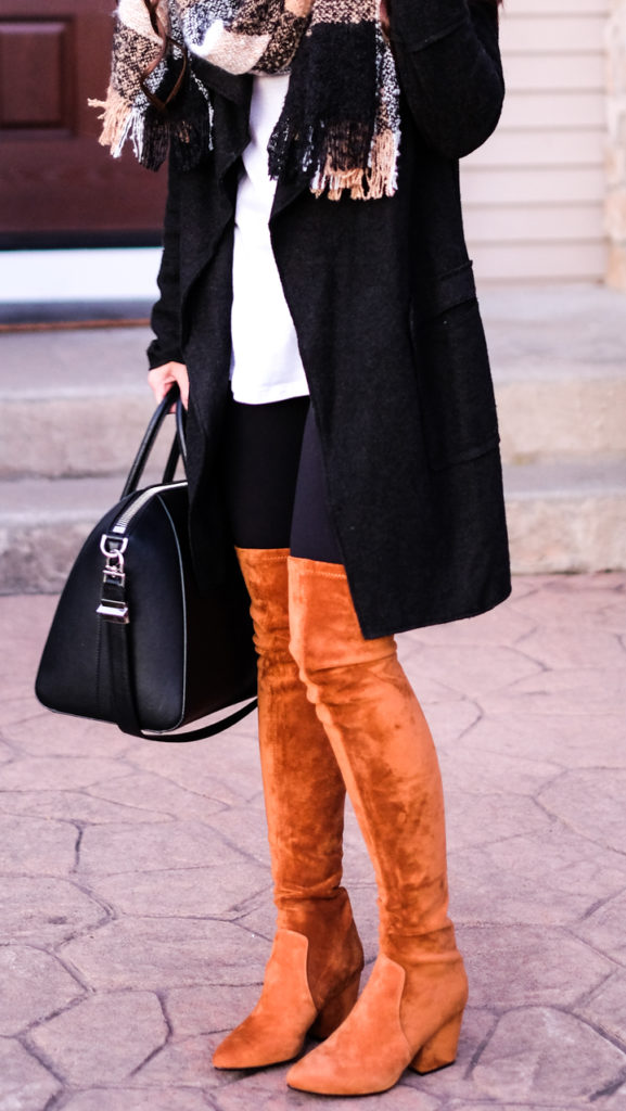 cognac over the knee boots outfit