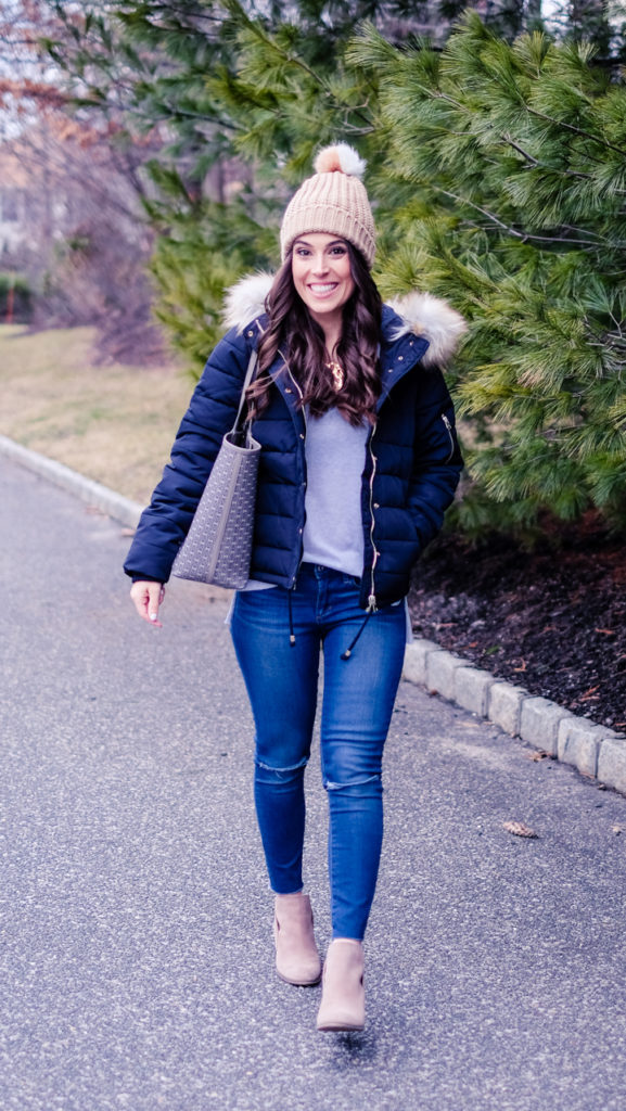 navy and white winter outfit