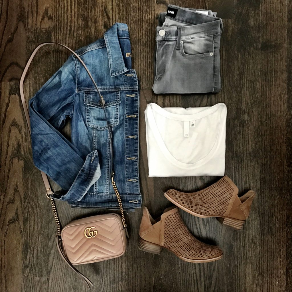 Gray jeans outfit idea denim jacket