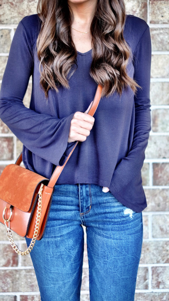 Navy and Cognac outfit idea