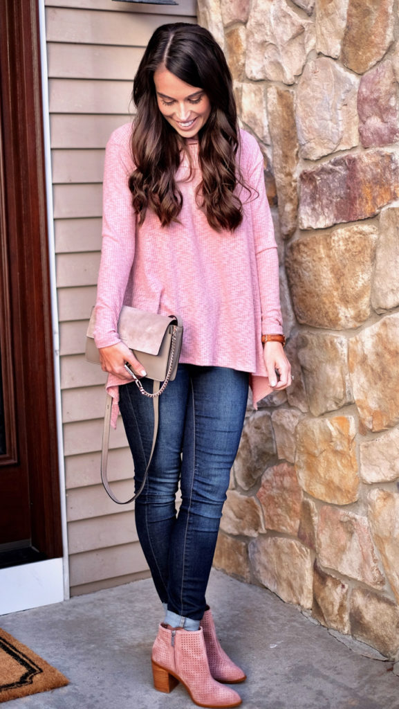 Pink booties outfit idea