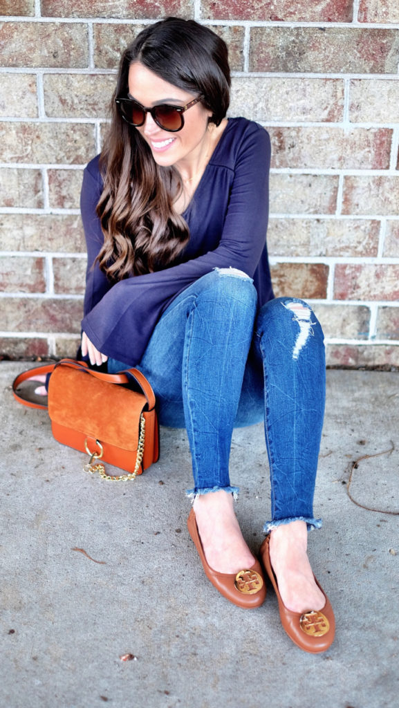 Tory Burch minnie travel flats outfit