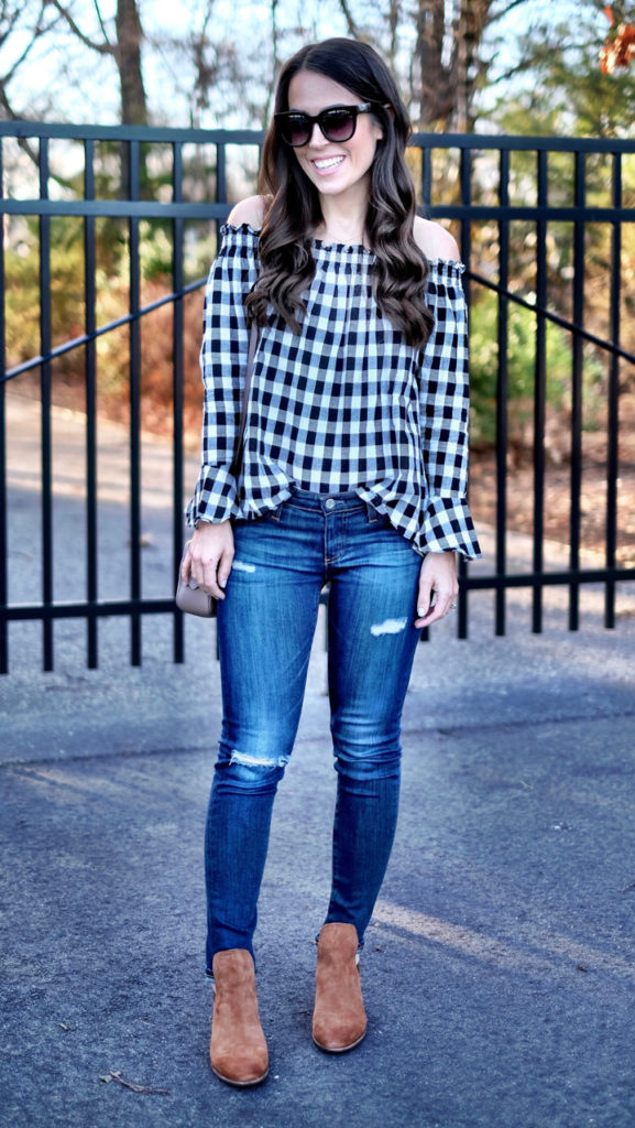 black and white gingham off the shoulder shirt