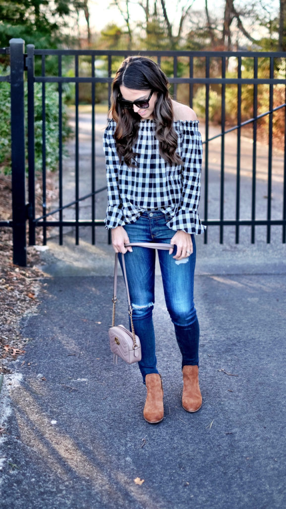 black white and brown outfit
