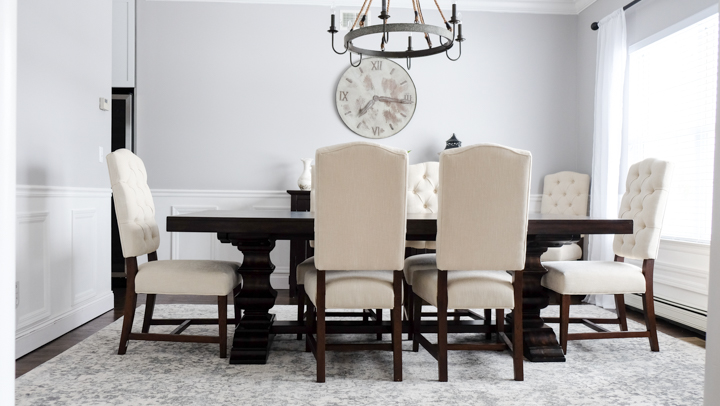 dining room dark wood table white chairs idea