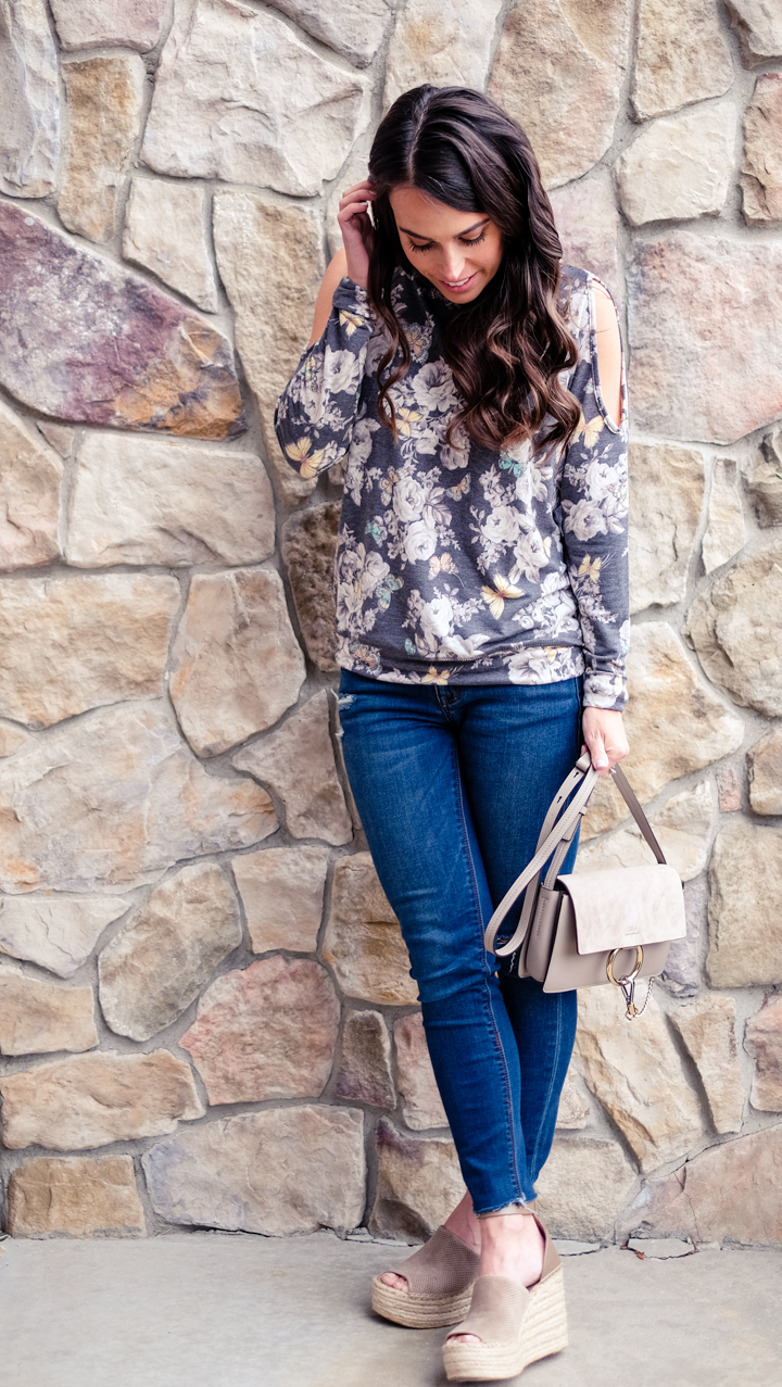 floral cold shoulder sweatshirt