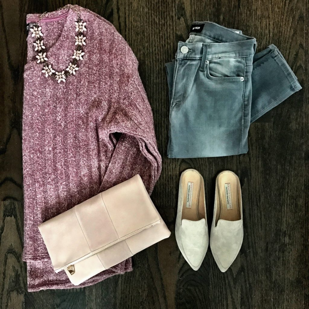 gray jeans outfit idea pink sweater