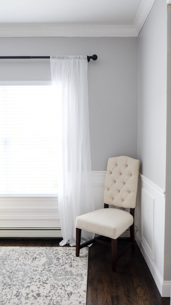 pottery barn sheer curtain and dining room chair