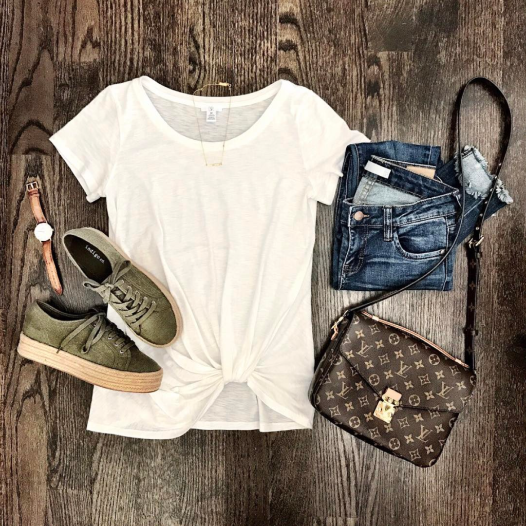 BP pre knotted tee lace up espadrille flats outffit